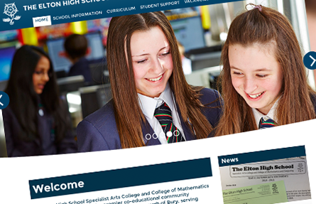 The Elton High School home page website design