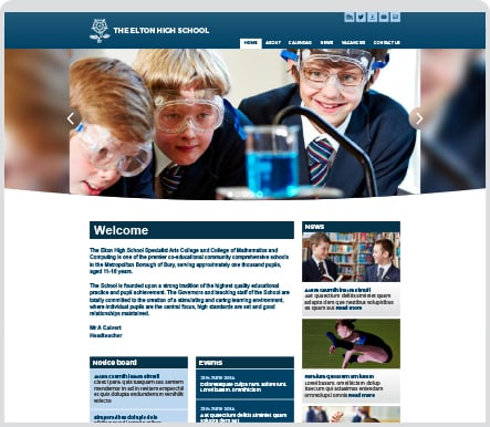 The Elton High School bespoke themed website design