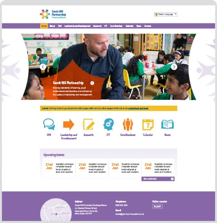 Bespoke vibrant and contemporary build for bespoke school website design