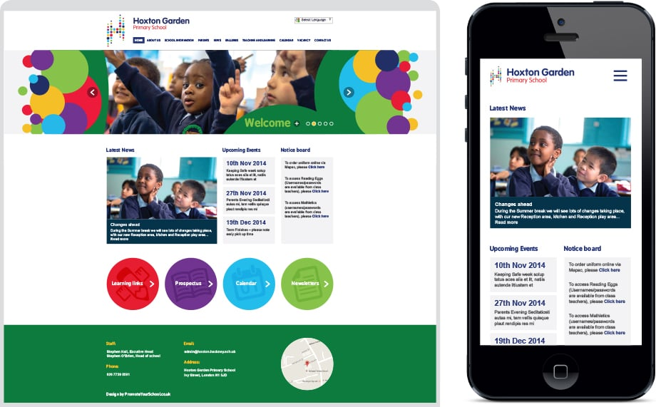 Hoxton Garden Primary vibrant branding and responsive web design