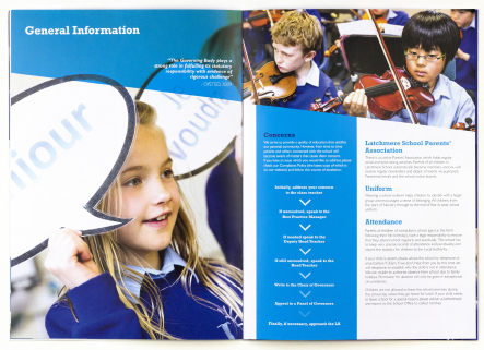 Latchmere School clean and contemporary prospectus design