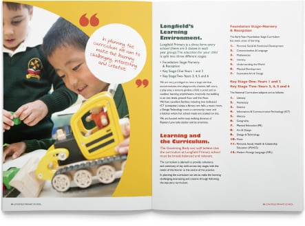 Longfield Primary School diverse and contemporary school prospectus design