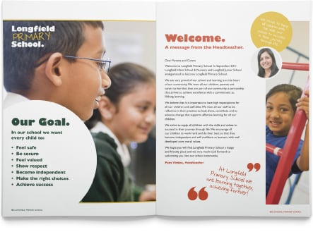 Longfield Primary School core values reflecting vibrant prospectus design