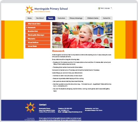 Morningside Primary School responsive website design