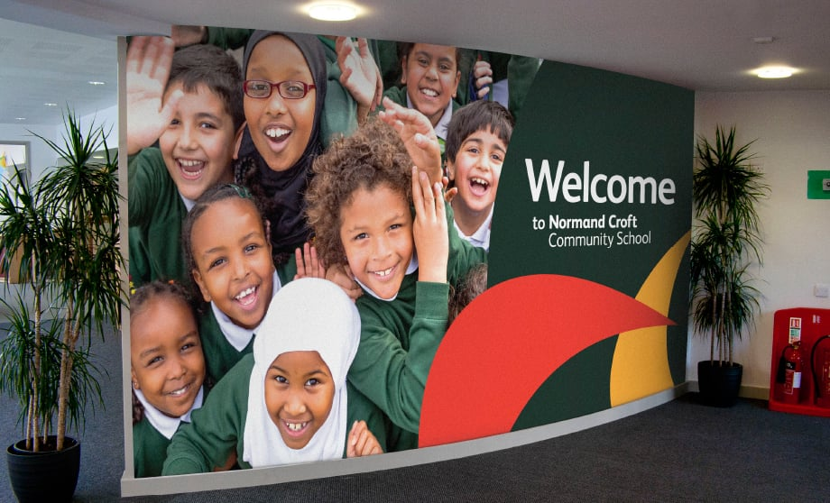 Normand Croft School bespoke signage and reception wall art