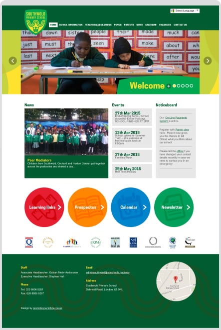 Southwold Primary School website and branding