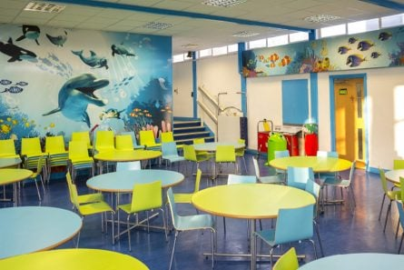 St Joseph's Catholic Primary School aquatic themed canteen wall art