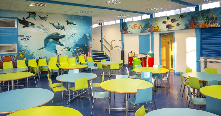 St Josephs Catholic bespoke underwater themed canteen wall art