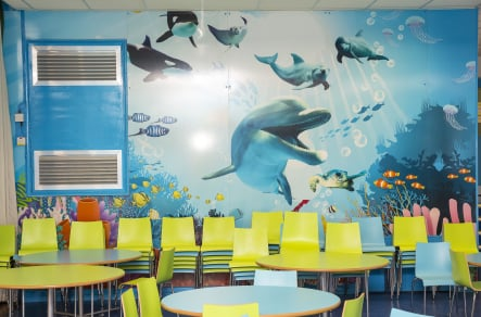 St Josephs underwater bespoke themed canteen wall art