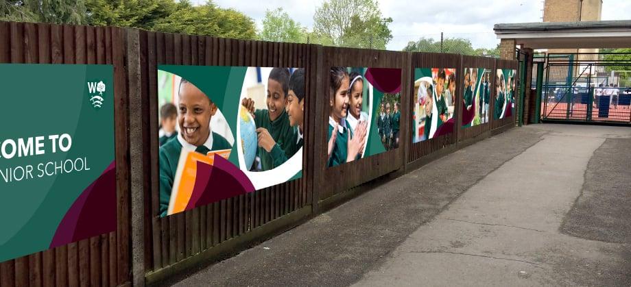Weald Junior School pupil photography external wall art