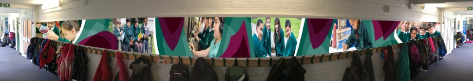 Weald Junior School bespoke corridor wrap wall art