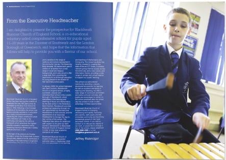 Blackheath Bluecoat pupil photography for bespoke school prospectus design