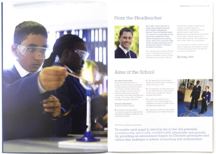 Contemporary and bespoke design for school prospectus and branding