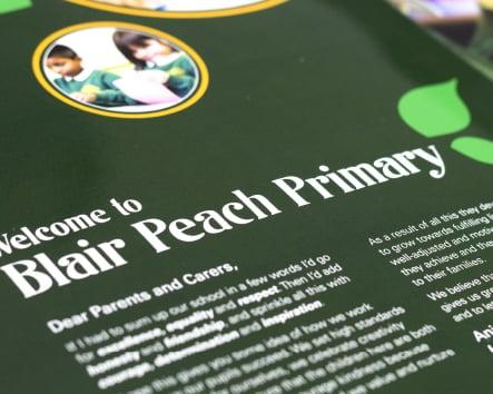Blair Peach Primary School bespoke unique prospectus design