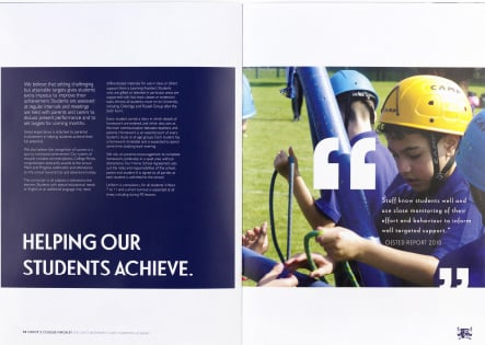 Christs College core values inspired bespoke prospectus design