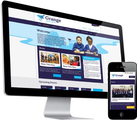 Grange Farm Primary School Farnborough website development graphic design
