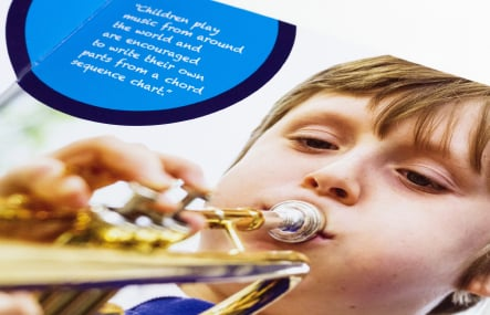 Grange Junior School Farnborough prospectus graphic design
