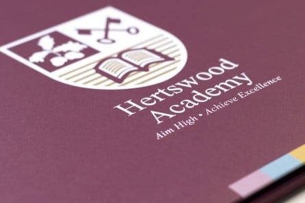 Hertswood Academy welcome brochure graphic and bespoke design