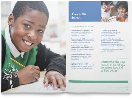 Kenmore Park Junior school bespoke prospectus design