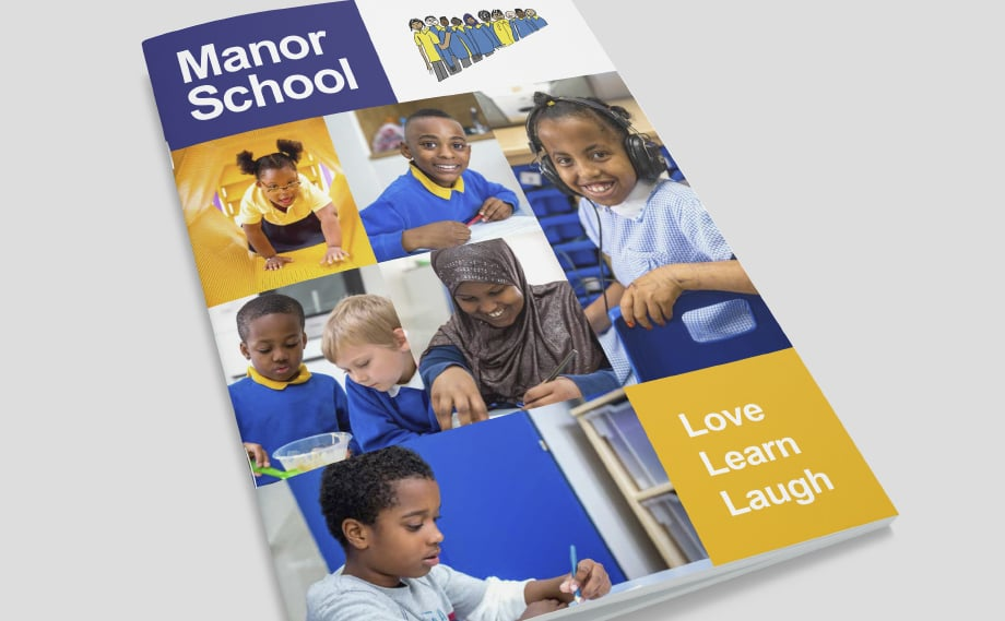Manor School vibrant and bespoke school prospectus design