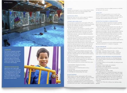 Manor School vibrant and school value reflecting bespoke prospectus design