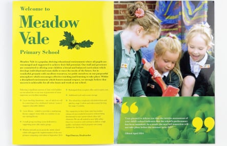 Meadow Vale Primary School custom themed prospectus design