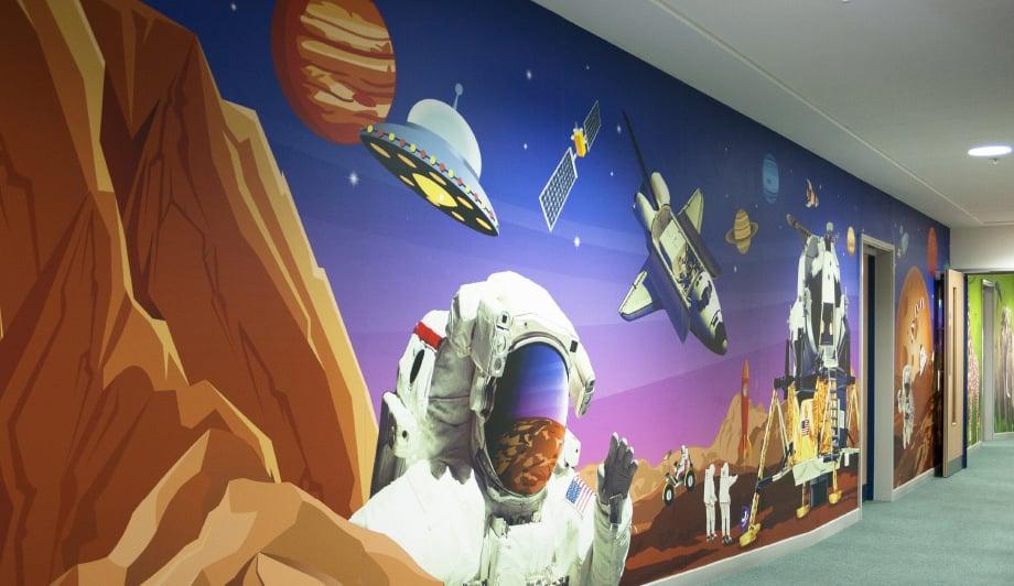Harlyn Primary School large format multiple themed corridor wall art
