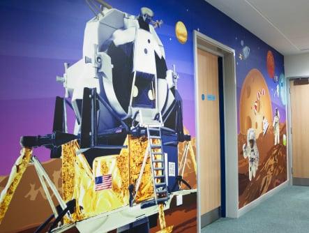 Harlyn Primary School vibrant multiple themed corridor wall art