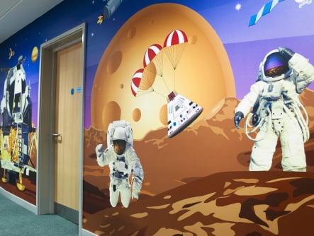 Harlyn Primary School space themed bespoke corridor wall art
