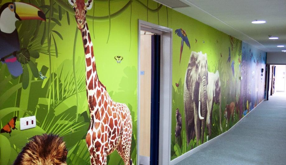 Harlyn School tropical animal themed large format corridor wall art
