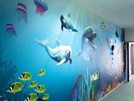 Close up of schools underwater themed corridor wall art