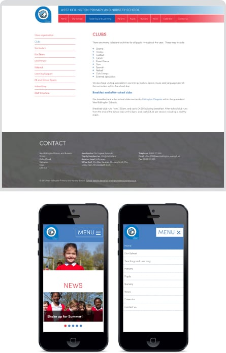 West Kidlington Primary and Nursery School website design