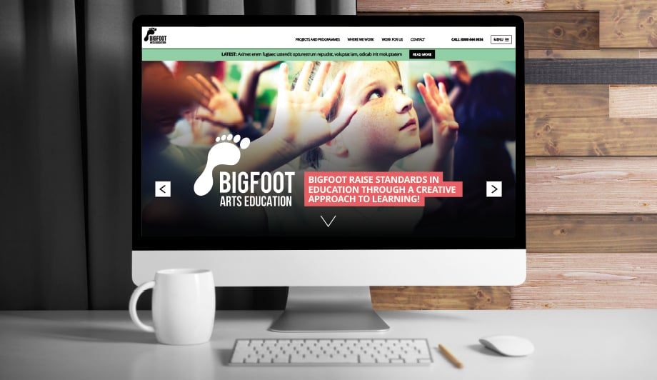 Bigfoot Arts Education bespoke and responsive website design