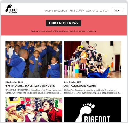 Bigfoot Arts Education contemporary and responsive website design