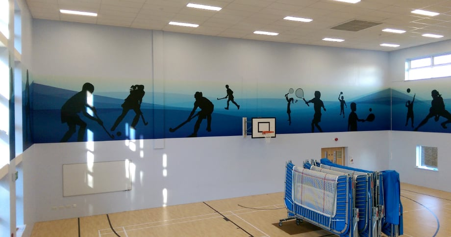 Lee Chapel primary school motivating sports hall wall art