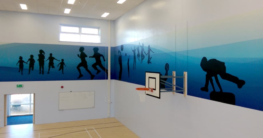 Lee chapel Primary Schools sports hall bespoke themed wall art