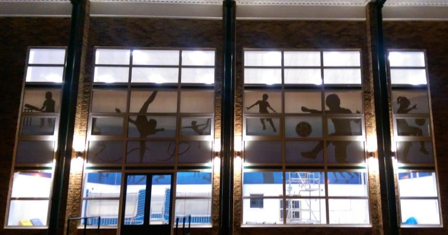 Lee Chapel Schools bespoke large format window vinyls wall art