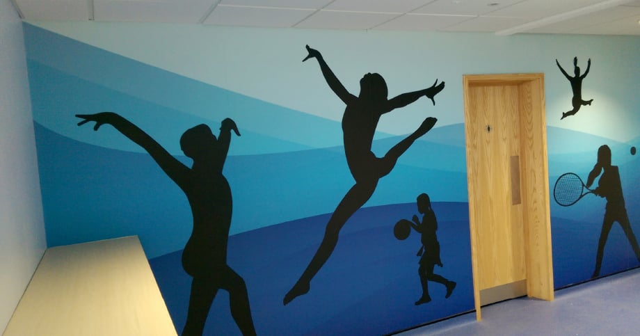 Large format wall art for school sports hall wall art