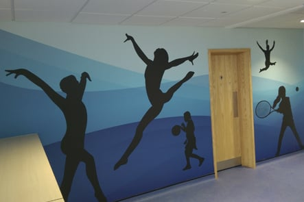 Lee Chapel Primary School sports theme corridor wall art
