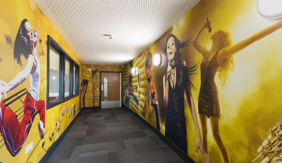Roebuck Primary Music themed large wrap corridor wall art
