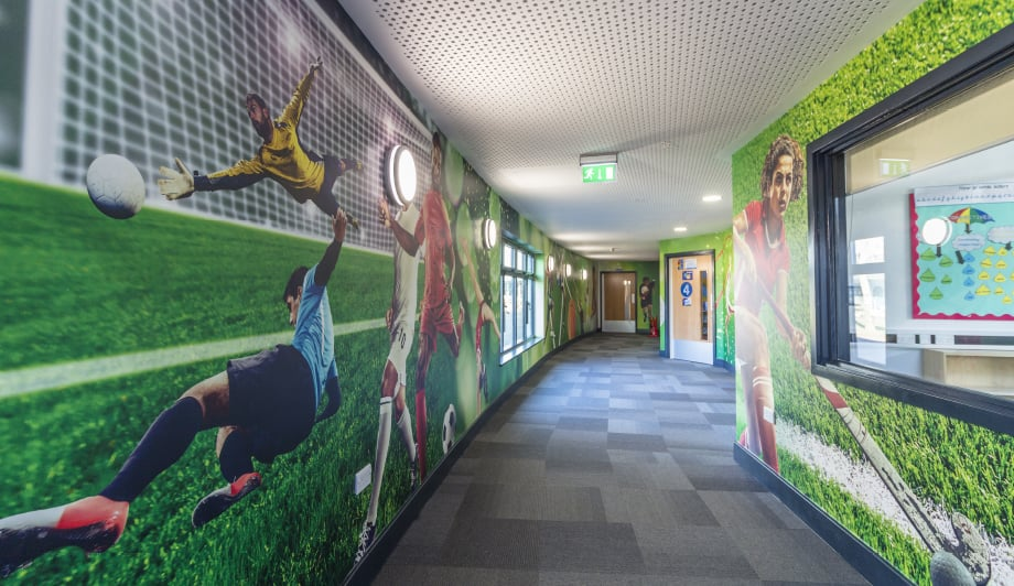 Roebuck Primary School sports continuation large wrap corridor wall art