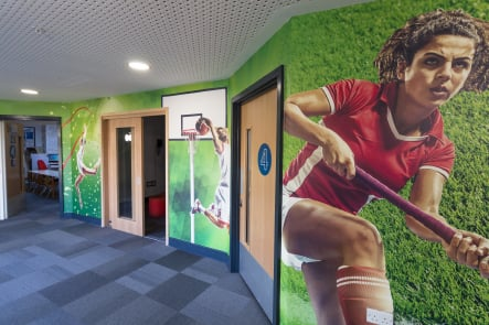 Primary and Nursery School large sports themed wall art installation