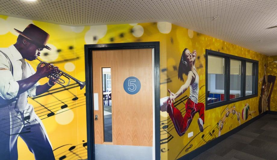 Roebuck Primary School Music hallway bespoke wall art
