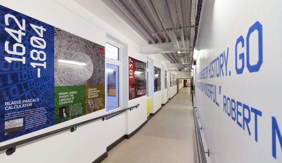 Townley Grammar Computer science & history timeline corridor wall art