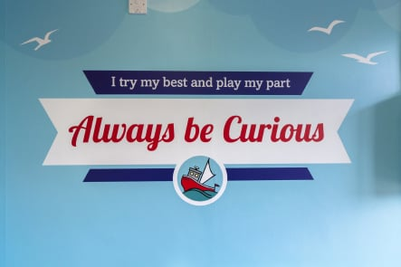 Primary and Nursery School values bespoke entrance wall art