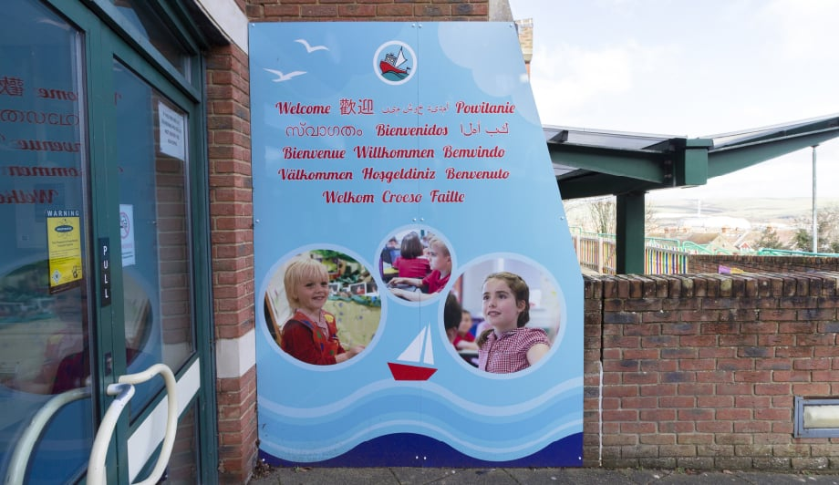 Harbour Primary and Nursery bespoke external welcome wall art