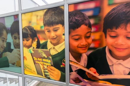 Longfield Primary School pupil photography wall art design and installation