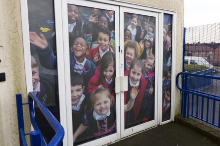 Primary School pupil photography for bespoke vinyl door wall art