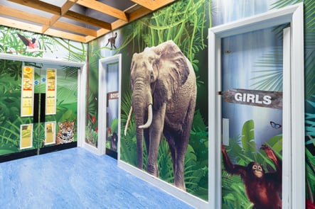 London Primary School jungle themed corridor wrap around wall art