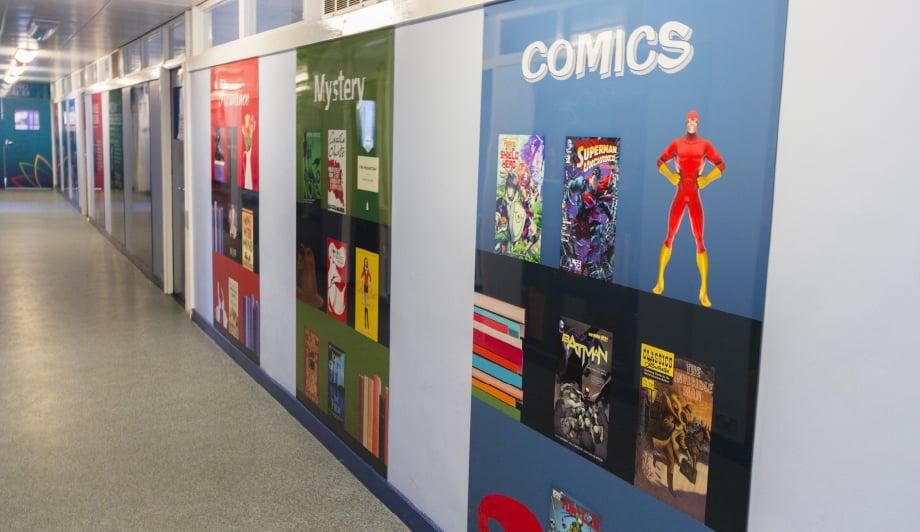 Churchmead school vibrant literacy themed corridor wall art